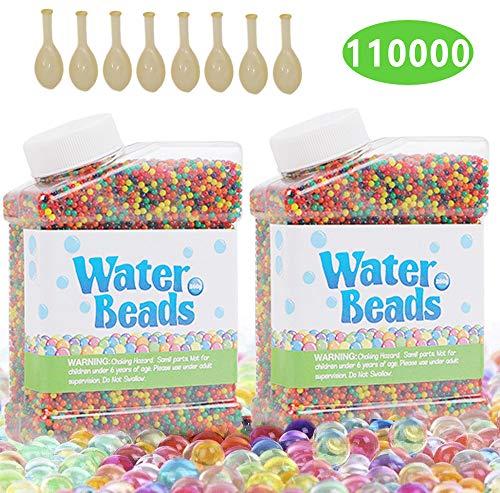 HEPAZ Wasserperlen,110000 Stück Wassergel-Kugeln,Wasserperlen Gel-Perlen für Vasen Dekoration,Pflanzen,Blumen,gemischte Kristalle,Hydrogel-Kugeln für Dekoration und 8 Luftballons