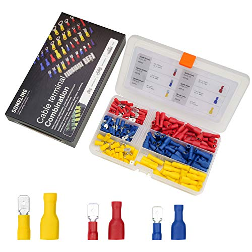 Isolierte Kabelschuhe Set Kabelverbinder Flachstecker Flachsteckhülse vollisoliert Steckverbinder für 0.5-6 mm² Kabel SOMELINE Stoßverbinder 200 Stück - 2 Modelle/3 Größen
