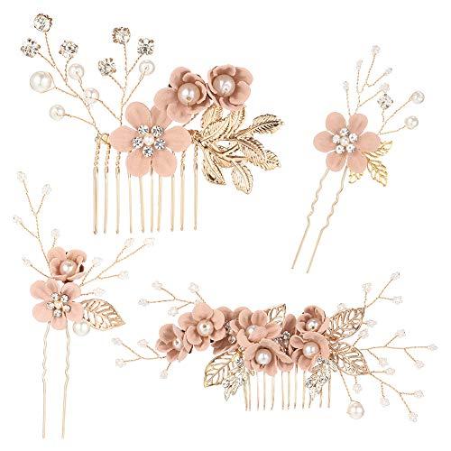 olyee 4 Stück Braut Haarkaamm Perle Hochzeit Clip Set Braut Handgemachte Blume Haarnadeln Set Brautschmuck Kopfschmuck Haarschmuck für Frauen BrautjungfernmäDchen - Rosa