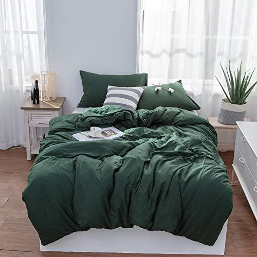 LIFETOWN Duvet Cover Queen - Ultra Soft Jersey Cotton Comforter Cover 3 Piece Set with Zipper Closure & Corner Ties (Queen, Dark Green)
