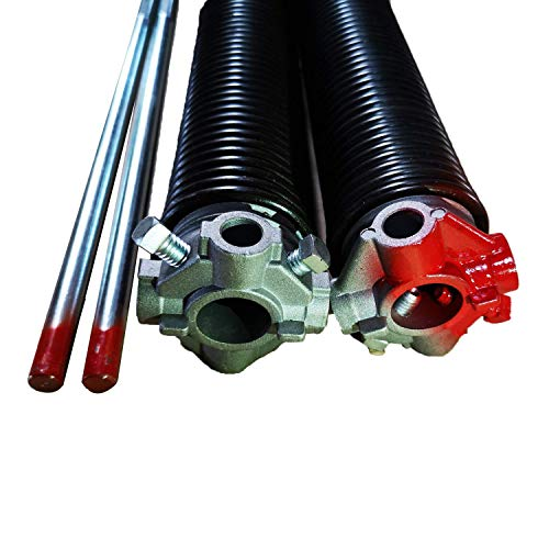 Garage Door Torsion Springs 2'' (Pair) with Non-Slip Winding Bars, Coated Torsion Springs with a Minimum of 10,000 Cycles (0.250X2''X29'')