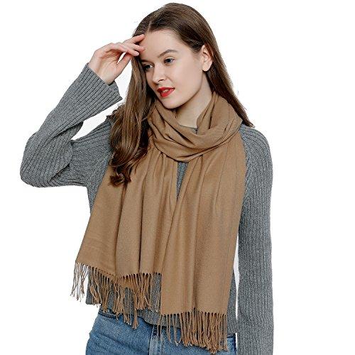 DonDon Damen Schal einfarbig weich 185 x 65 cm khaki sandfarben