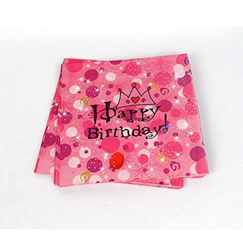 KOUQI Suministros De Decoración Y Arreglo para Fiestas De 6 Personas para Niños Pink Crown Tissue (1 Paquete de 20 Hojas)