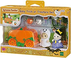 Limited edition halloween set with two adorable babies in witch and ghost costumes Set includes a pumpkin carriage, baskets and candies Connectable to the sleigh in baby sleigh ride set Well-made with fine attention to detail Good for stimulating ima...