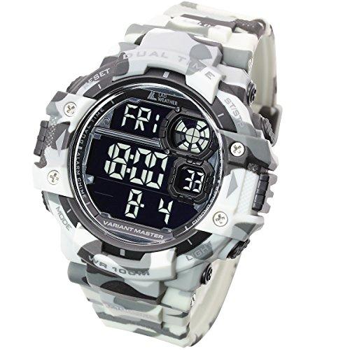 LAD WEATHER Exteriores Reloj Militar Cronómetro Marcador de Pasos Camuflaje Resistente al Agua 100 m (cmwh-BK)