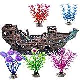 AOTOPYU Acuarios Decorativo Naufragio, Barco Pirata, Submarino, naufragio Submarino, 17 * 16 * 8,5cm, 5 Piezas Plantas Artificiales Acuario plástico y Acuario para Decoración de Reptiles