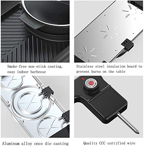 HEMFV Portable Electric Grill, 1500W Electric Indoor and Ourdoor Shabu Shabu Hot Pot with Barbecue Medical Stone Non…