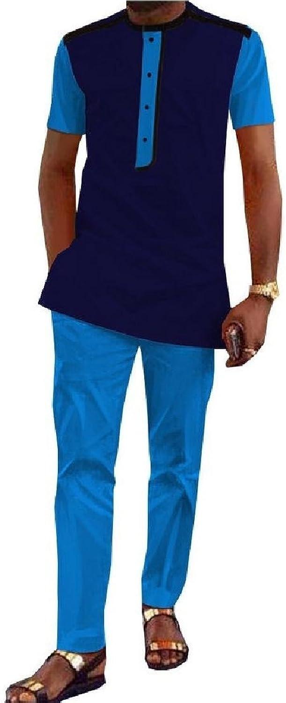 Tootless Men Dashiki Africa Batik Long Pants Shirt Slim Fit Set Tracksuit