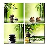 non-brand 4 Paneles Cuadro Pinturas de Paisaje Colgar en Pared Decoración para Hogar Casa - Bambú Verde