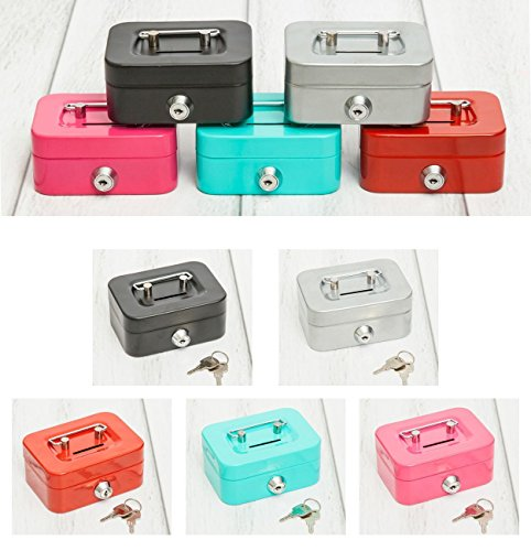 Mini Geldkassette aus Metall mit Geldschlitz und 2 Schlüsseln in 5 tollen Farben