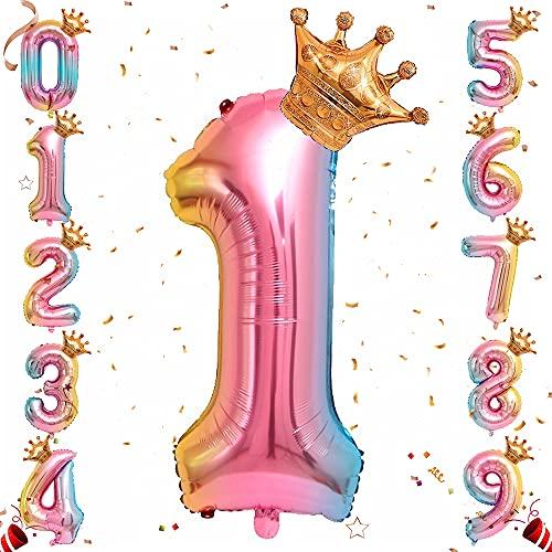 Ousuga Ballon de numéro de Feuille d'hélium, Ballons de numéro de dégradé Arc-en-Ciel de 32 Pouces avec Couronne pour Anniversaire, décorations de fête d'anniversaire (# 1)