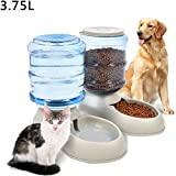 Comedero Automatico Perros Comederos para Gatos Cachorros de Perro Plato de Comida Fuentes de Agua para Gatos Gray,Feeder Set