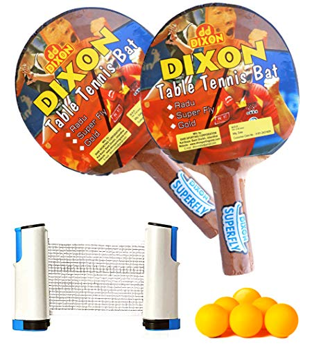 Toyshine Dixon Super Fly Table Tennis Combo – Two Ping Pong Paddles, 6 Plastic Balls and Foldable Net