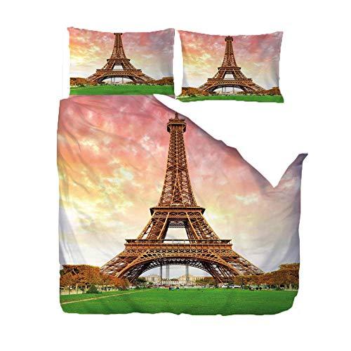 WPHRL Navidad Ropa de Cama 3 Piezas Torre Eiffel bajo el Cielo 140x200cm Funda nórdica y Funda de Almohada Ropa de Cama Poliéster superfino Suave y Transpirable