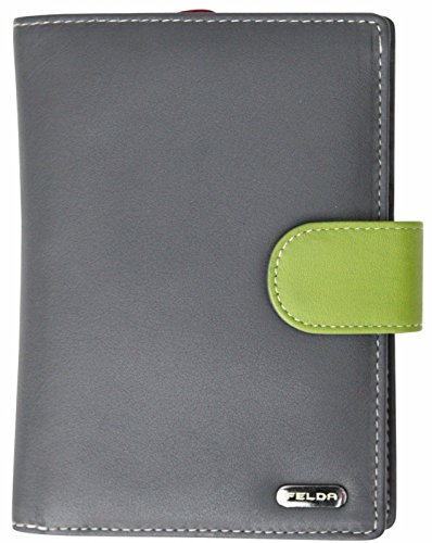 Felda - Damen Geldbörse mit 23 Kartenfächern & Münzfach - RFID-Blocker - aus Echtleder - groß - Grau Mehrfarbig