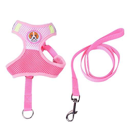 Yowablo Hundebrustgurt und Leine Set New Soft Breathable Air Nylon Mesh Puppy (44-60cm,Rosa)