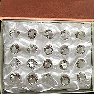ZAMTAC 20mm 20pcs Clear Color One Set with Pink Gift Boxes Glass Diamond Paperweight Home Decoration Gifts 20mm