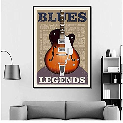 Canvas print,Blues Legends Gitaar Poster En Prints Wall Art Canvas Pictures Voor Woonkamer Home Decor-40x60cm