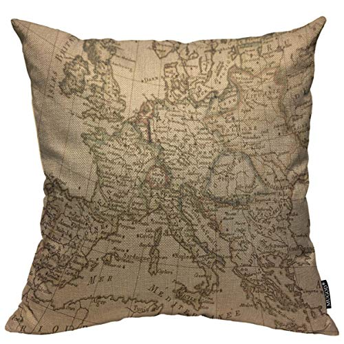Mugod Throw Pillow Cover Old Antique Europe Map Germany Italy France Spain Mediterranean Continent Home Decorative Square Pillow Case for Men Women Bedroom Livingroom Cushion Cover 18x18 Inch