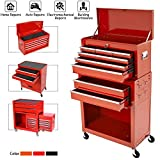 8-Drawer Rolling Tool Chest,Big Tool Chest and Tool Storage Cabinet,Tool Chest with 4 Wheels,Removable Portable Top Box with Lock Tool Chest for Garage and Warehouse-Cool Red