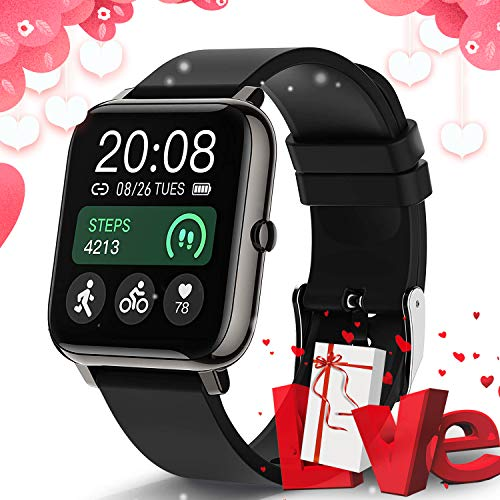 Smart Watch, Popglory Smartwatch with Blood Pressure, Blood Oxygen Monitor, Fitness Tracker with Heart Rate Monitor, Full Touch Fitness Watch for Android & iOS for Men Women (Elegant Black)
