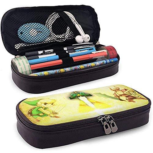 Legend of Zelda Spirit Tracks Fanart PU Estuche de cuero con cremallera, bolsa estacionaria, bolsa de almacenamiento, bolsa de maquillaje