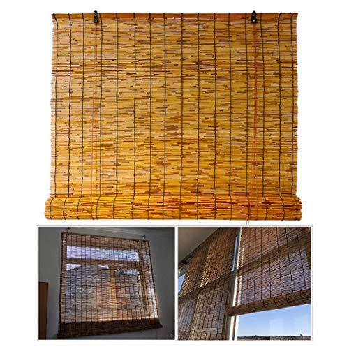 ZDDY Persianas enrollables de bambú, persianas enrollables de láminas, Cortinas Romanas Impermeables Retro con elevación, Parasol/Aislamiento térmico, para Interiores, Exteriores, Cocina, Patio.