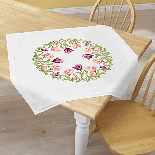Kamaca - Kit de punto de cruz, diseño de corona de tulipanes, 80 x 80 cm, algodón