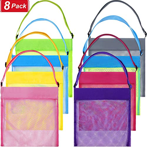 meekoo 8 Pieces Candy Bags Mesh Beach Bags Snacks Bags Seashell Bags for Kids Goodies Gift Wrapping Birthday Wedding Halloween Christmas Storage Fruit Vegetable Or Toys (S, Multicolor)