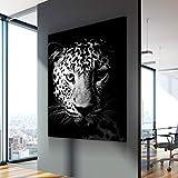 wZUN Pintura de Lienzo nórdica en Blanco y Negro Cartel de Animal de Leopardo Pintura sobre Lienzo en la Pared en la Pared 50x70 cm