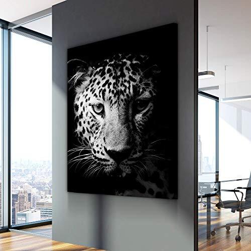 wZUN Pittura su Tela nordica in Bianco e Nero Poster di Animali Leopardo Dipinto su Tela sul Muro sul Muro 50x70cm