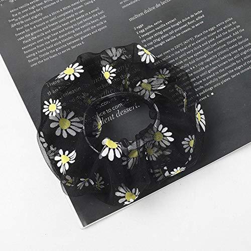 Finer Bande de Caoutchouc de Fil Transparent Plus Filles Bande de Cheveux Douce Marguerite Femmes chouchous Vintage Bandeau Accessoires de Cheveux de Mode, Noir
