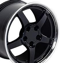 OE Wheels 17 Inch Fits Chevy Camaro Corvette Pontiac Firebird C5 Deep Dish Style CV05 Black with Machined Lip 17x9.5 Rim Hollander 5122