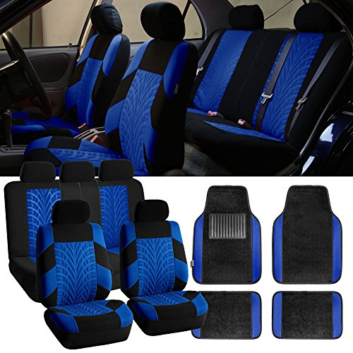 FH Group FB071115 + F14407 Travel Master Seat Covers (Blue) Full Set – Universal Fit for Cars Trucks and SUVs