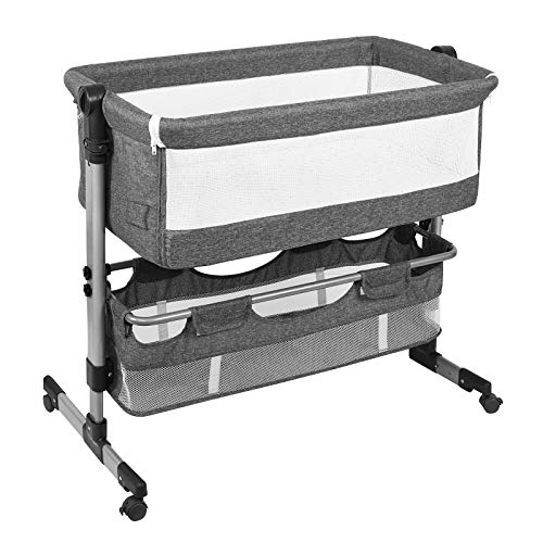HAHASOLE 3 in 1 Bedside Sleeper for Baby, Bassinet for Newborn Baby, Adjustable Portable Bed with Mattress Included and Height Adjustable,CPSC and ASTM Certified Bedside Crib (Grey)