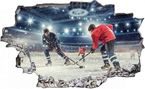Tatuaje de pared en 3D agujero de la pared Sticker Pegatina Adhesivo Calcomanía Decoración para dormitorio o la sala de estar,Pista de hockey sobre hielo 80x120cm