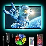 LED strip 3M, Bluetooth Kontrolliert LED TV Hintergrundbeleuchtung mit APP, 5050RGB TV Beleuchtung RGB für 46-60 Zoll HDTV, PC Bildschirm, Spieltisch [Energieklasse A+]