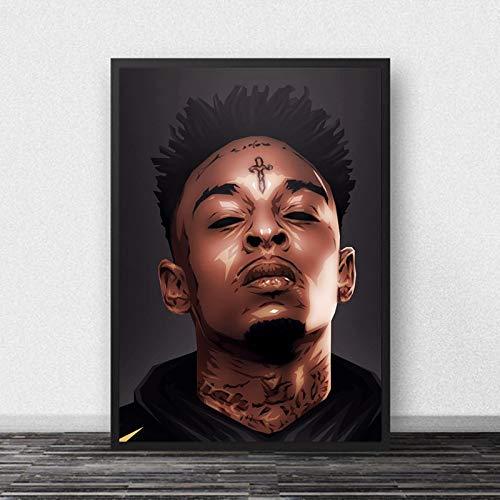 21 Savage Poster Rap Music Star Hip Hop Rapper Canvas Painting Posters E Impresiones Art Wall Pictures Sala De Estar Decoración para El Hogar 40X50Cm Cdl-2715