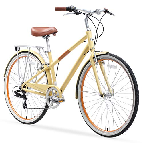 sixthreezero Reach Your Destination Women's Hybrid Bike with Rear Rack, 28 Inches, 7-Speed, Cream