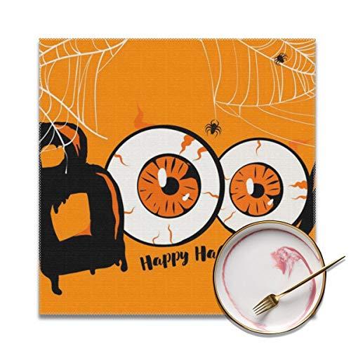 Sitear Gelukkig Halloween Banner Boo Lettering Aangepaste Placemat Zacht En Makkelijk Te Vouwen Anti-Fouling Tafel Decoratie 12'' X 12'' (4 Stuks)
