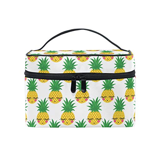 Makeup Bag, Cute Pineapple Emoji Print Cosmetic Toiletry Storage Organiser Case Large Travel Handle Personalised Pouch with Compartments for Teenage Girl Women Lady