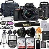 Nikon D5600 DSLR Camera 24.2MP with NIKKOR 18-55mm f/3.5-5.6G VR & 70-300mm Lens, 2 Pack SanDisk 32GB Memory Card, Bag, Flash, Telephoto & Wideangle Lens Kit and ZeeTech Accessory Bundle