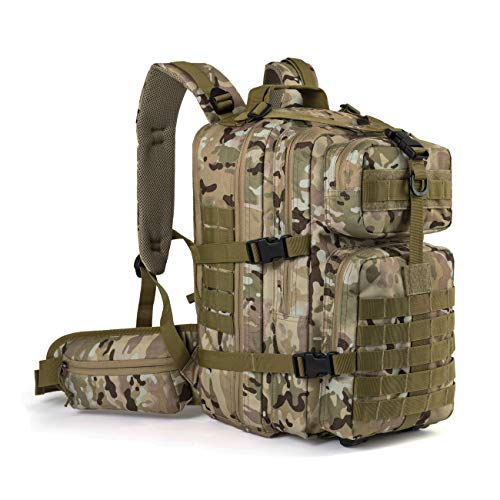 RUPUMPACK Military Tactical Backpack Hydration Backpack, Army MOLLE Bag, Small 3-Day Rucksack Outdoor Hiking Camping Trekking Hunting School Daypack, 33L