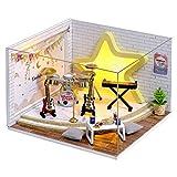 Cuteroom Habitación de muñecas DIY, Muebles en Miniatura, Kit de casa de Madera, Kit de casa de muñecas de Madera con Cubierta Antipolvo, luz LED y Accesorios, casa de muñecas Serie QT (QT008)