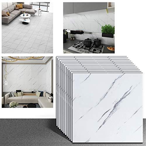 VEELIKE 30 cm x 30 cm, 12 unidades de adhesivos para azulejos, color blanco, vinilo autoadhesivo, para baño, cocina, moderno y mate