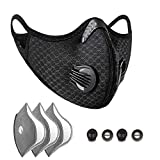 Staubmaske, Anti-Umweltverschmutzung, Sportmaske mit 3 Aktivkohlefiltern und 2 Ventilen, staubdicht,...