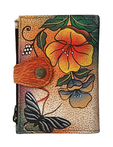 "Anna by Anuschka Damen, Handpainted Leather Ladies Wallet, Wild Flower Brieftasche, echtes Leder, Wildblume, 5""x 3.5""x 0.25"""