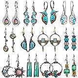 12 Pairs Boho Jewelry Crystal CZ Earrings Set Retro Statement Leaf Water Drop Dangle Earrings for...