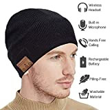Upgraded Bluetooth Beanie Hat Headphones Wireless V5.0 Connection Siri Voice Control Knit Music Headset with HD Stereo Speakers & Microphone for Winter Fitness, Women Men(Black)