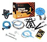 Gusto Games Zipline Kit for Backyard for Kids and Adults - 110ft Cable with Harness for Extra Safety